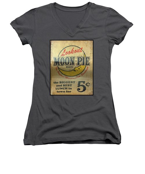 Moon Pie Antique Sign Women's V-Neck (Athletic Fit)