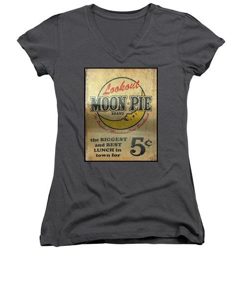 Moon Pie Antique Sign Women's V-Neck