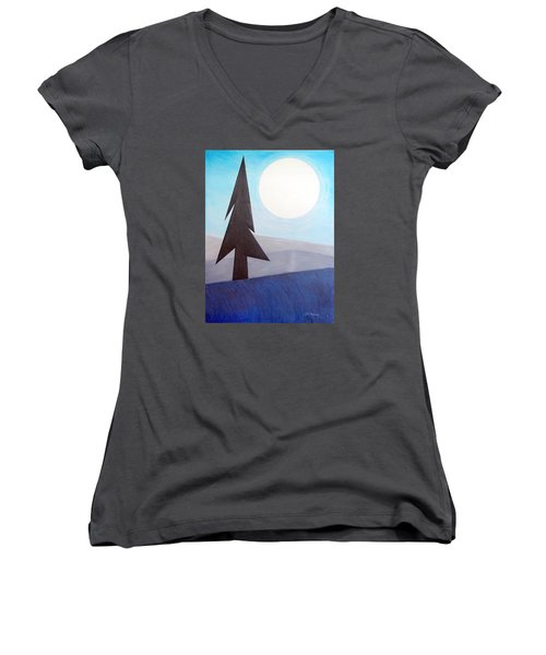 Women's V-Neck T-Shirt (Junior Cut) featuring the painting Moon Rings by J R Seymour