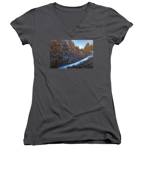 Women's V-Neck T-Shirt (Junior Cut) featuring the mixed media Moon Rise  by Angela Stout