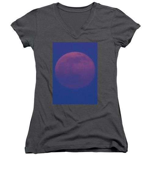 Moon Rise Blue Women's V-Neck T-Shirt (Junior Cut) by Michael Nowotny
