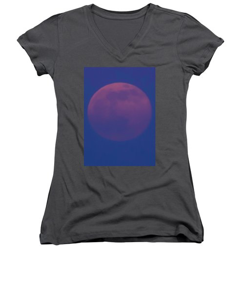 Moon Rise Blue Women's V-Neck T-Shirt
