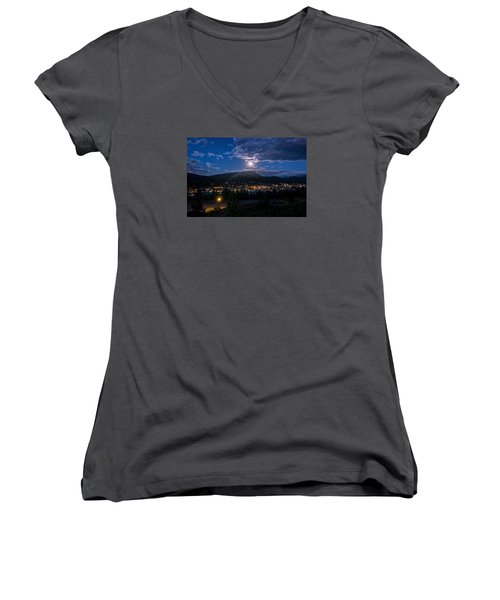 Moon Rising Over Breckenridge Women's V-Neck T-Shirt (Junior Cut) by Michael J Bauer
