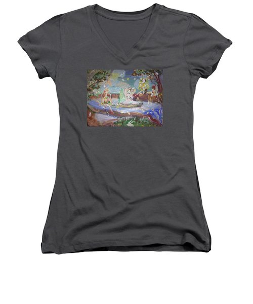 Moon River Fairies Women's V-Neck T-Shirt (Junior Cut) by Judith Desrosiers