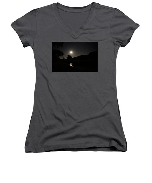 Moon Set Over Palm Valley 2 Women's V-Neck T-Shirt (Junior Cut) by Paul Svensen