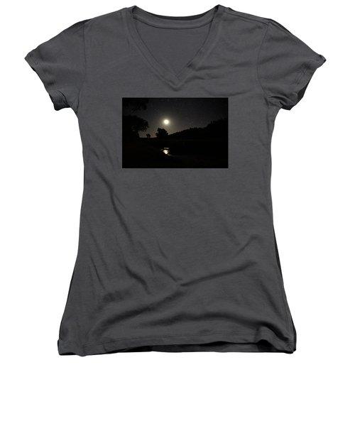 Moon Set Over Palm Valley 2 Women's V-Neck T-Shirt