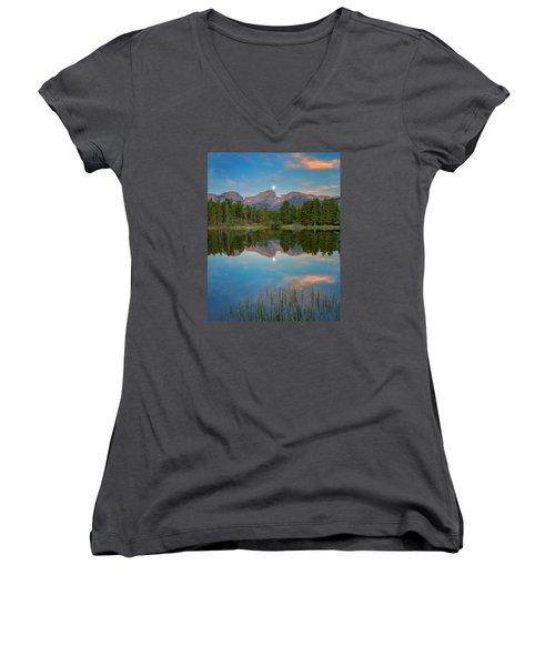 Full Moon Set Over Sprague Lake Women's V-Neck T-Shirt (Junior Cut) by John Vose