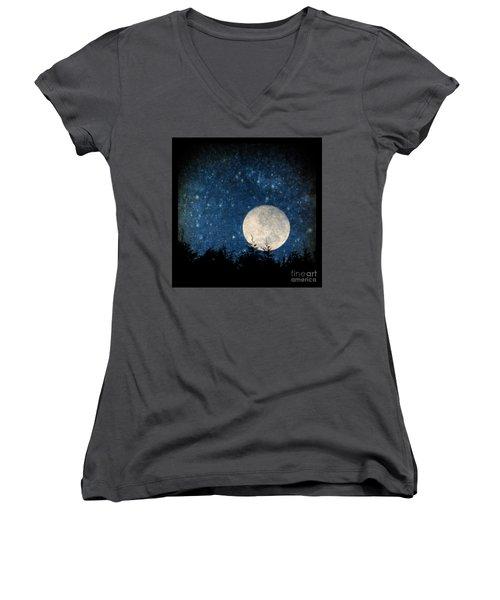 Moon, Tree And Stars Women's V-Neck