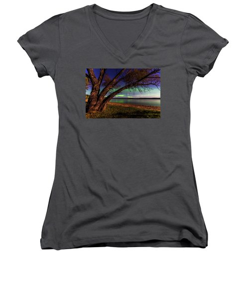 Moon Vs Aurora Women's V-Neck T-Shirt