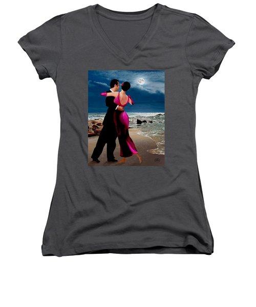Moonlight Dance V2 Women's V-Neck T-Shirt (Junior Cut) by Ron Chambers
