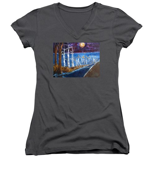 Women's V-Neck T-Shirt (Junior Cut) featuring the painting Moonlight On Path To Beach by Betty Pieper