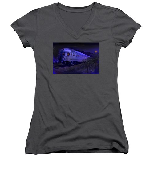 Moonlight On The Sante Fe Chief Women's V-Neck T-Shirt (Junior Cut) by J Griff Griffin
