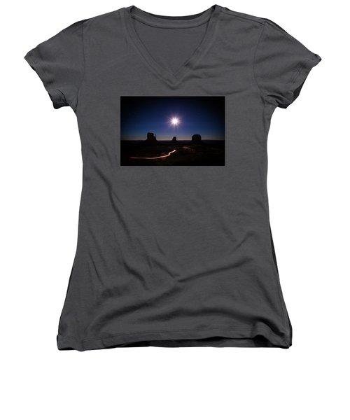 Moonlight Over Valley Women's V-Neck