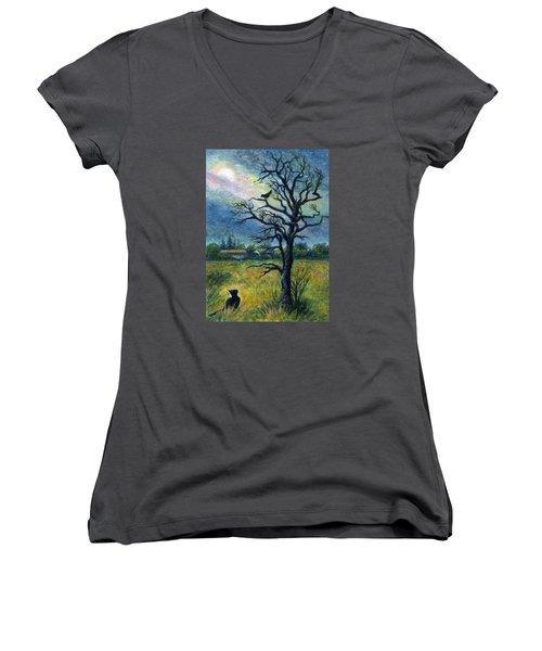 Moonlight Prowl Women's V-Neck T-Shirt (Junior Cut) by Retta Stephenson