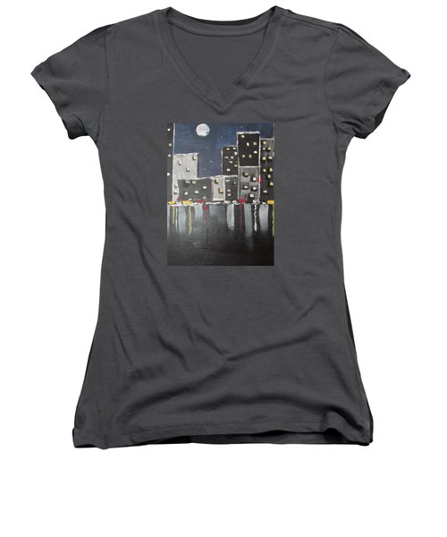 Moonlighters Women's V-Neck T-Shirt (Junior Cut) by Sharyn Winters