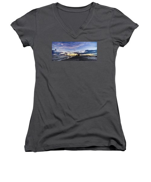 Moonlit Beach Sunset Seascape 0272c Women's V-Neck (Athletic Fit)