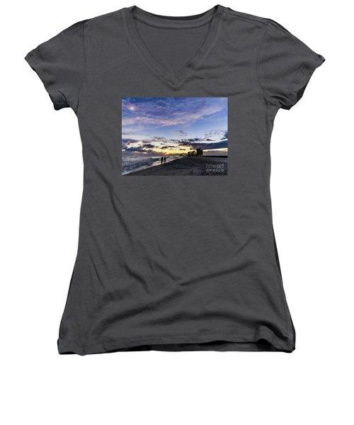 Moonlit Beach Sunset Seascape 0272d Women's V-Neck (Athletic Fit)