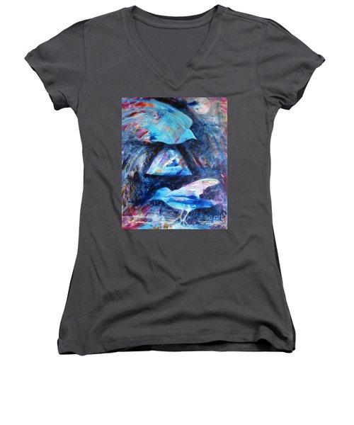 Moonlit Birds Women's V-Neck T-Shirt (Junior Cut) by Denise Hoag