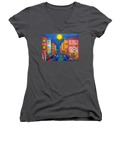 Moonlit Venice Women's V-Neck (Athletic Fit)