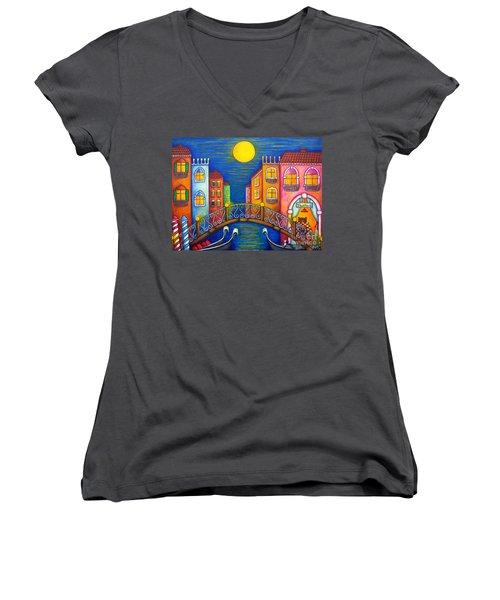Moonlit Venice Women's V-Neck T-Shirt