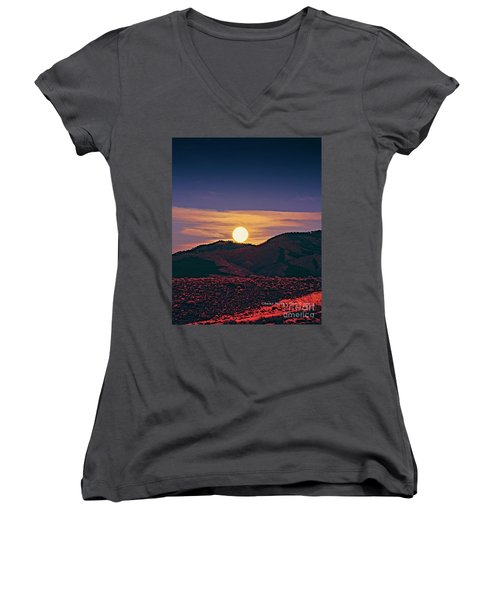 Moonrise In Northern New Mexico  Women's V-Neck