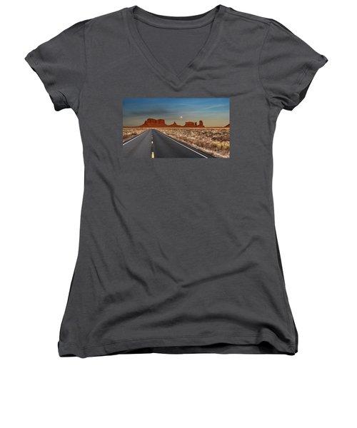 Moonrise Over Monument Valley Women's V-Neck