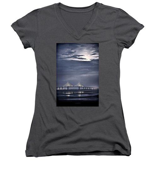 Moonrise Over Sunshine Skyway Bridge Women's V-Neck