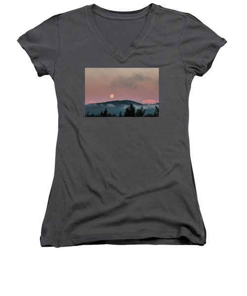 Moonset At Dawn Women's V-Neck