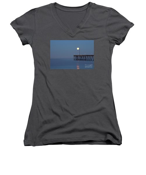 Women's V-Neck T-Shirt (Junior Cut) featuring the photograph Moonset At The Ventura Pier by John A Rodriguez