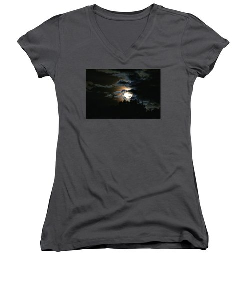 Moonset In The Clouds 2 Women's V-Neck (Athletic Fit)