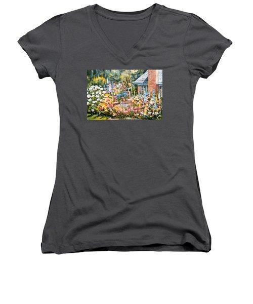 Moore's Garden Women's V-Neck T-Shirt (Junior Cut) by Alexandra Maria Ethlyn Cheshire