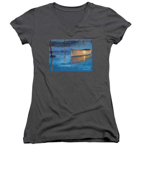 Moored In Light-sold Women's V-Neck T-Shirt (Junior Cut) by Nancy Parsons