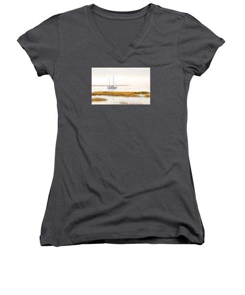 Mooring Line Women's V-Neck T-Shirt (Junior Cut) by Scott Hansen