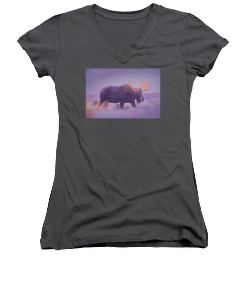 Moose In A Blizzard Women's V-Neck (Athletic Fit)