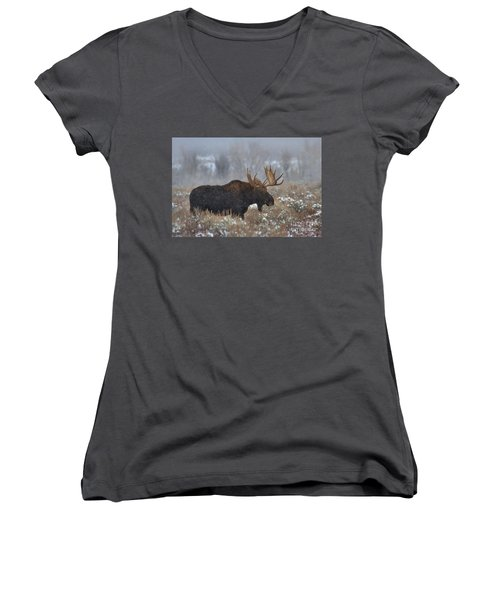 Women's V-Neck T-Shirt (Junior Cut) featuring the photograph Moose In The Fog by Adam Jewell