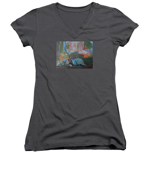 Women's V-Neck T-Shirt (Junior Cut) featuring the painting Moose Lips Brook by Francine Frank