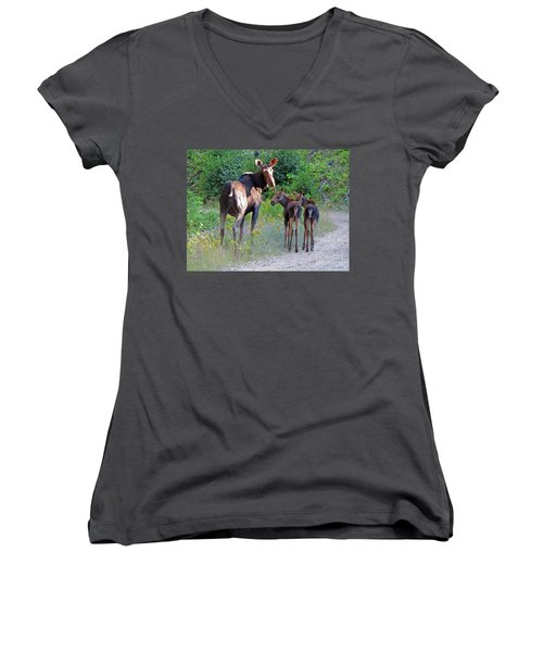 Moose Mom And Babies Women's V-Neck T-Shirt (Junior Cut) by Cindy Murphy - NightVisions