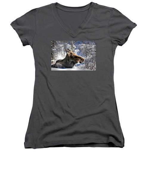 Moose On The Loose Women's V-Neck