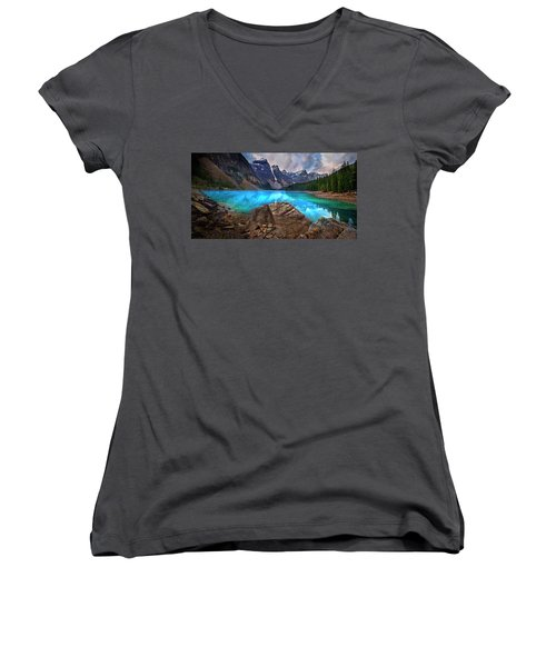 Moraine Lake Women's V-Neck T-Shirt (Junior Cut) by John Poon