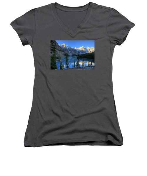 Moraine Lake Sunrise Blue Skies Women's V-Neck (Athletic Fit)