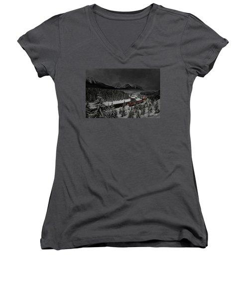 Morant's Curve - Winter Night Women's V-Neck T-Shirt (Junior Cut) by Brad Allen Fine Art