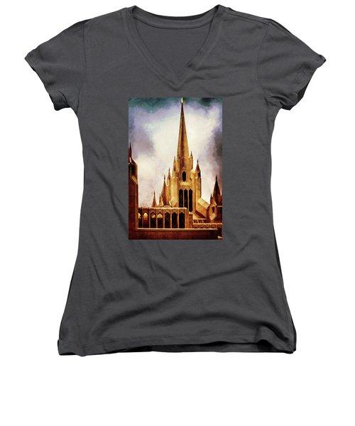 Mormon Temple Steeple Women's V-Neck T-Shirt