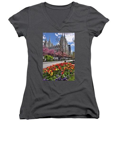 Mormon Temple Women's V-Neck T-Shirt (Junior Cut) by Utah Images