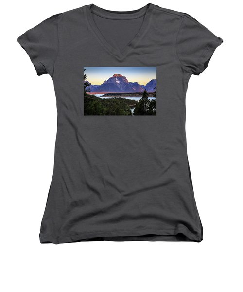 Morning At Mt. Moran Women's V-Neck