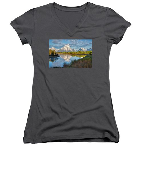 Morning At Oxbow Bend Women's V-Neck (Athletic Fit)