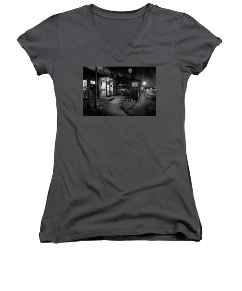 Morning Coffee In Black And White Women's V-Neck (Athletic Fit)
