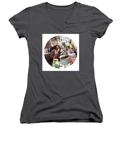 Morning Coffee With Eggs Over Easy Women's V-Neck T-Shirt