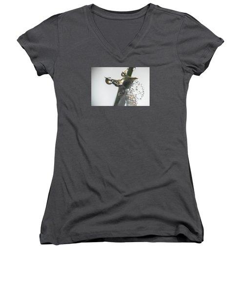 Morning Dew On A Web Women's V-Neck T-Shirt (Junior Cut) by Odon Czintos