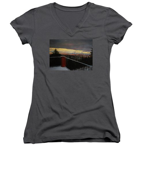 Morning Dusting Above Boulder Women's V-Neck T-Shirt