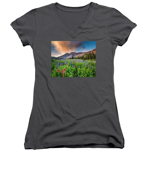 Morning Flowers In Little Cottonwood Canyon, Utah Women's V-Neck